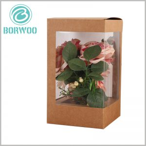 Kraft paper boxes with window for flower packaging. The custom packaging has PVC windows on all four sides, so the beautiful flowers can be shown to customers in all directions.