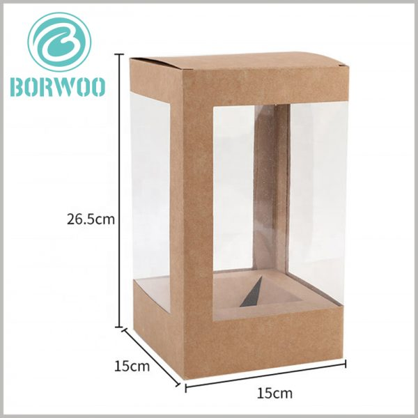 Kraft paper boxes with window wholesale. The reference size of kraft paper packaging is 15cm×15cm×26.5cm, but this is not the only one, but can be customized.