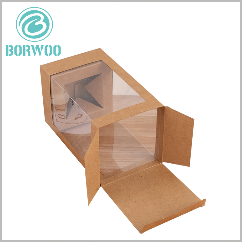 Kraft paper boxes with window. The customized packaging uses 350gsm kraft paper as the raw material, so the packaging is foldable.