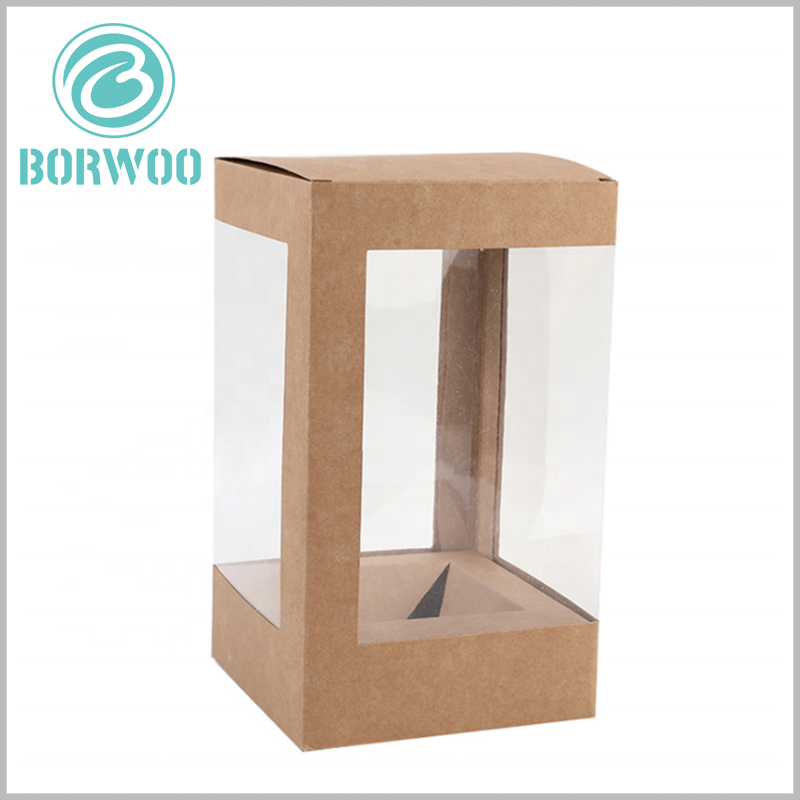 Kraft paper packaging boxes with window. The tray formed by kraft paper is located at the bottom of the package and is used to fix the product so that the product can be displayed to consumers in the best form.