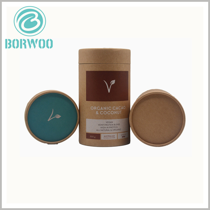 Kraft tube packaging for 500g food powder. The size of the food powder packaging is closely related to the product capacity, and the packaging and printing content can also be fully customized.