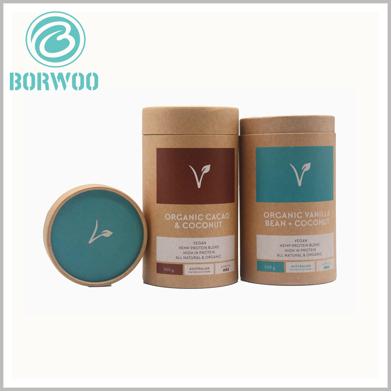 Kraft tube packaging for 500g protein powder. Customized round boxes packaging is closely related to product information, and product characteristics are reflected through packaging design