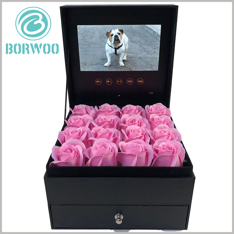 Original Manufacturer Flower Packaging Box With Video. The playing content of flower gift boxes can be personalized, which will bring surprises to customers and increase the value of flowers.