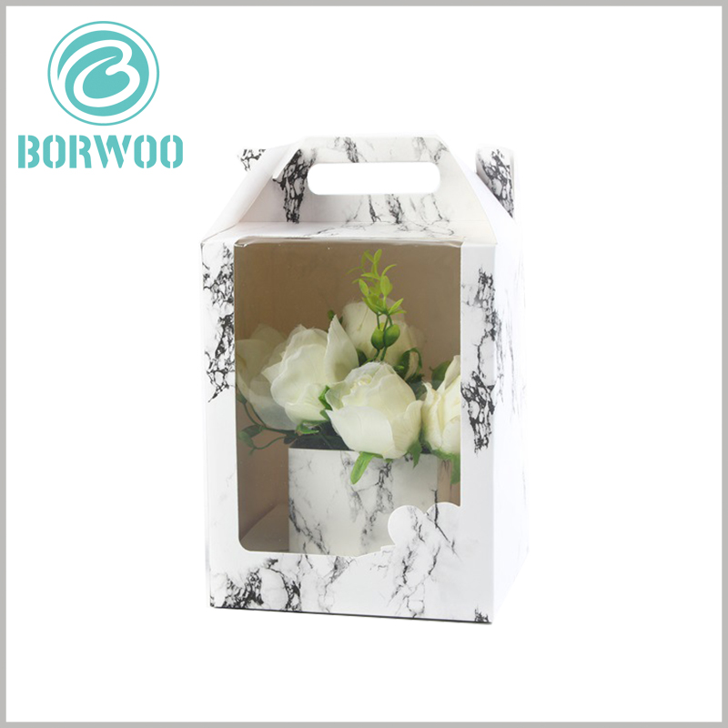 Paper Gable box with windows for flower packaging. The marble design pattern makes the flower packaging unique and attractive, which is very helpful for product promotion.