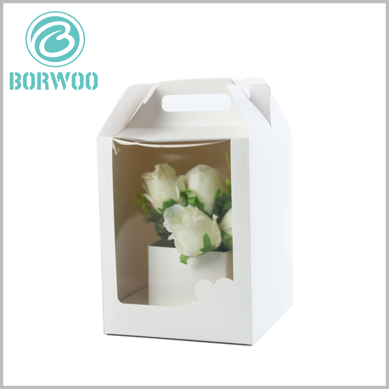 Paper Gable boxes with windows for flower packaging. The white packaging boxes are simple in design, but have a very good effect on the display of flowers.