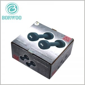 Printed corrugated packaging for dumbbells. Sports product packaging uses printed corrugated packaging, which is very common, and the cost of packaging is low.