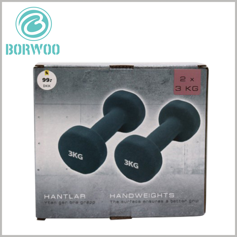 Printed corrugated packaging for dumbbells set.Using product patterns as the main elements of packaging design can target the characteristics of the product.