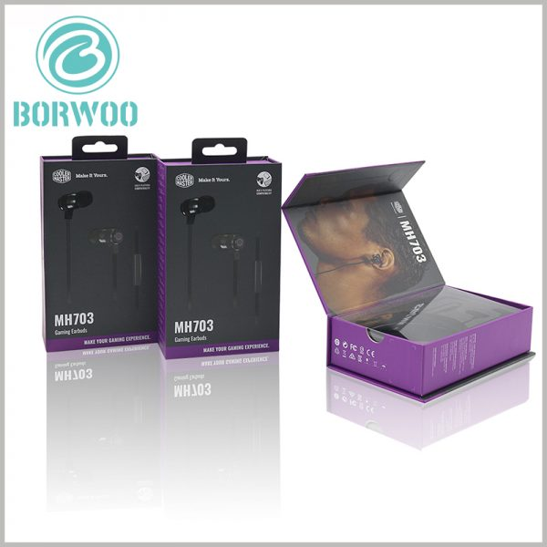 Printed headphone packaging boxes. In order to increase the convenience that earplugs can be hung on the shelf, plastic hooks can be designed on the top of the cardboard boxes.