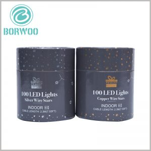 Printed round boxes with lids for 100 led lights. Logo, brand information, product information, etc. are printed with hot silver or hot stamping to increase the attractiveness of the packaging.