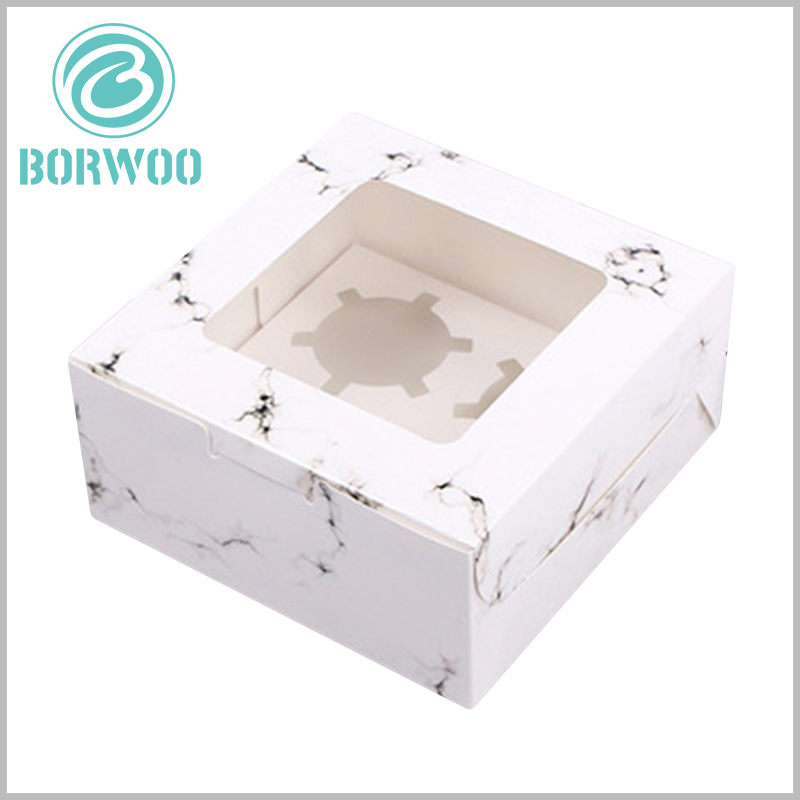 """Square mini cupcake boxes with """"white marbled road"""". Square food packaging, creative packaging design, and the top PVC window to satisfy customers' desire to peep into the product."""