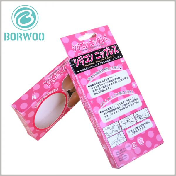 Strapless bra packaging box with hang tags. Biodegradable product packaging is entirely made of paper as the packaging material, which will not cause any harm to the environment.