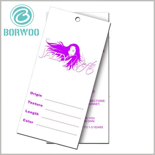Hair extension hang tags custom.The custom wig tag is conducive to brand building and has a high cost performance.