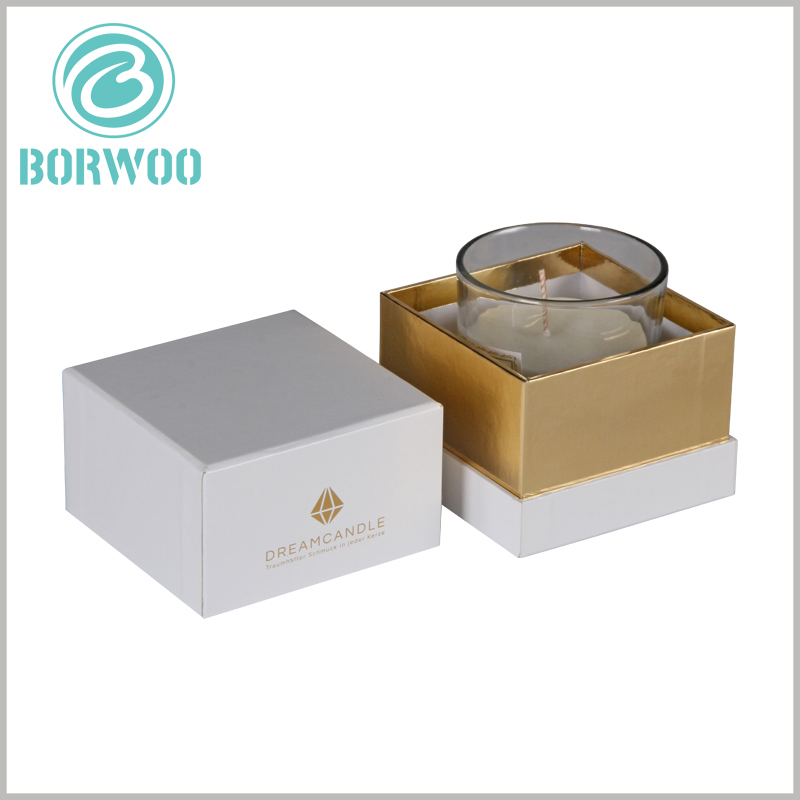 White square cardboard boxes for candles. The compact packaging structure design allows the customized packaging to only accommodate one candle glass container, and there is no more free space.