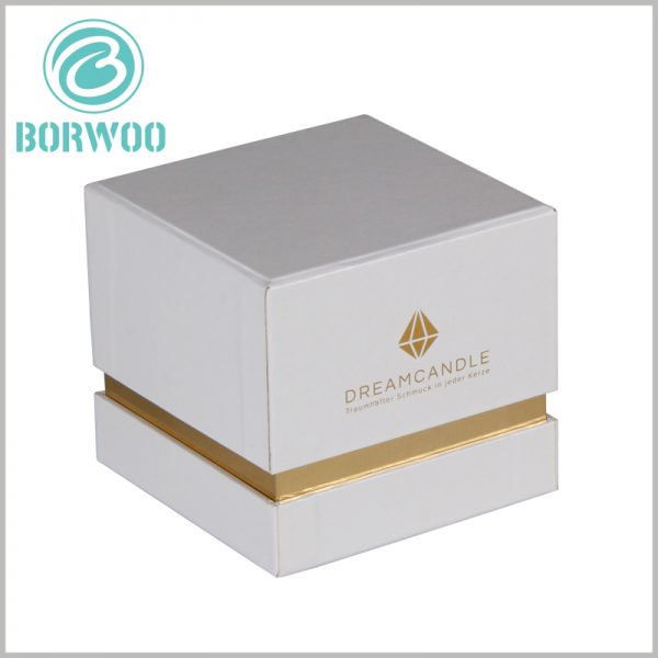 White square cardboard boxes with bronzing printing. The inner neck of the white candle packaging is exposed to gold, which makes the product packaging have a luxurious visual sense.