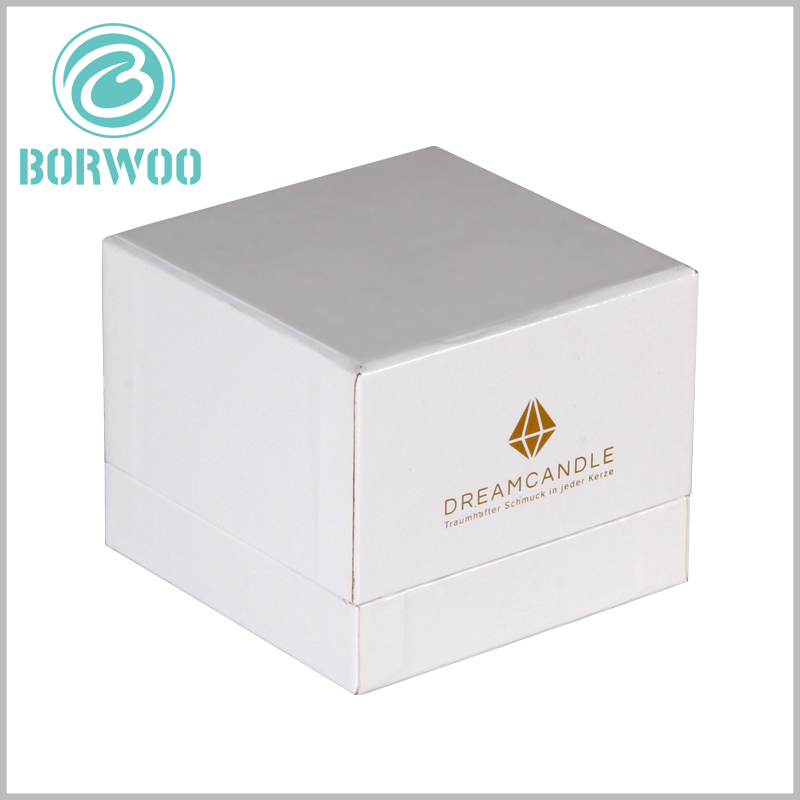 White square cardboard candle boxes wholesale.The custom candle packaging design is simple and stylish, which can help the product attract more attention