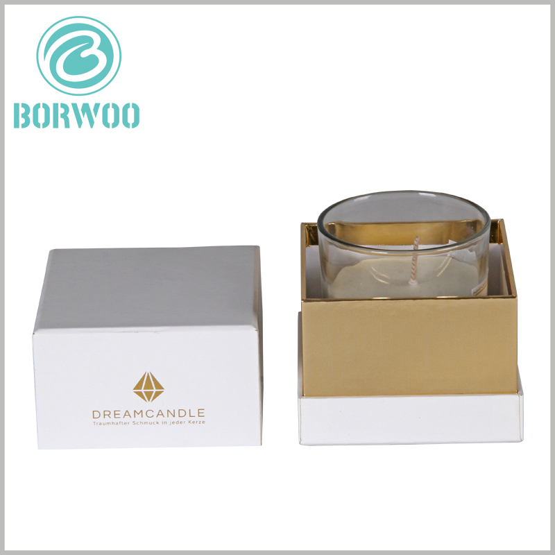 White square cardboard candles boxes. Customized square candle packaging with bronzing printing is more conducive to reflect the value of the brand.
