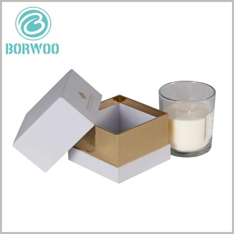 White square cardboard gift boxes for candles. Customized gift boxes are one of the effective ways to increase product value and price, and it is a very worthwhile investment.