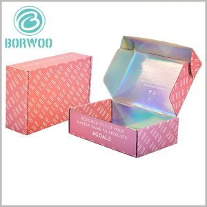 beauty corrugated packaging for makeup boxes.The inner side of the corrugated paper boxes package is entirely made of laser paper as laminated paper, so that there are various colors of reflection inside the package.