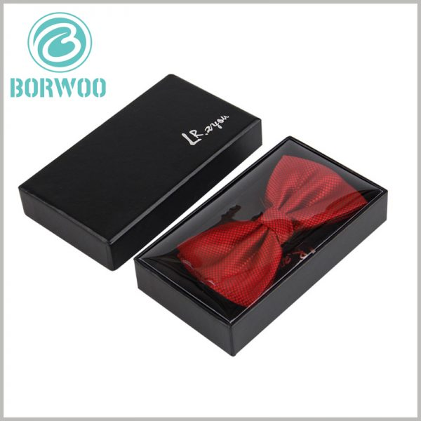 black bow tie packaging box with logo. Black cardboard boxes with lids wholesale, can print specific content according to product needs and promotional needs.