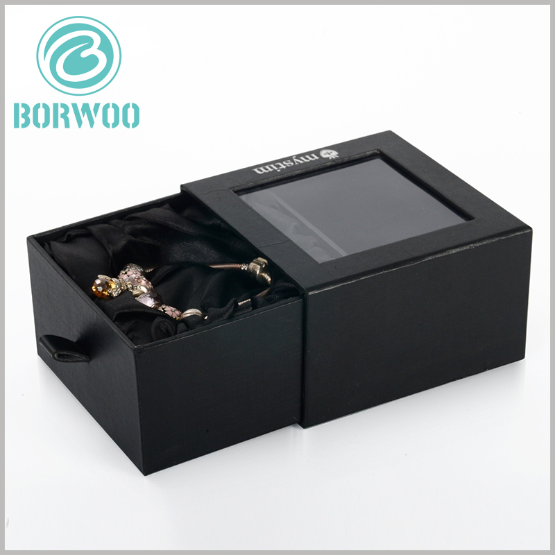 black bracelets gift boxes with windows. Square cardboard drawer boxes, one side of the drawer boxes is sealed, and the other side is opened by pulling the inner box.