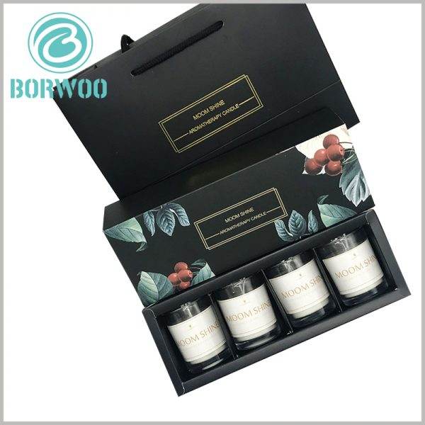 black candle boxes packaging for 4 jars.Inexpensive candle packaging boxes print specific content, and can provide matching gift tote bags custom.
