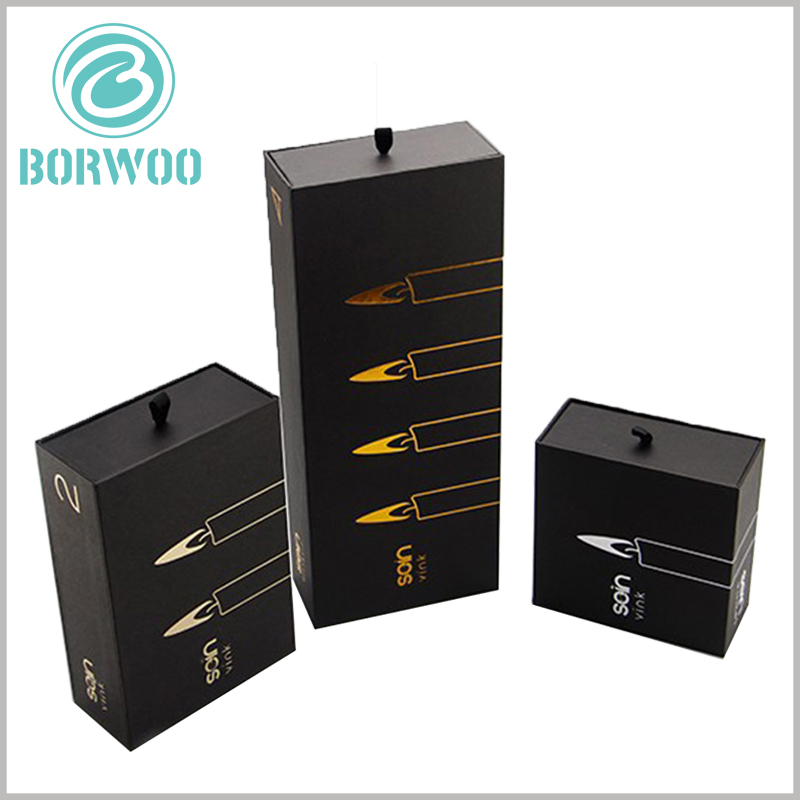 black cardboard boxes for candles. Product pictures are printed on the surface of the black cardboard box packaging, and customers will be able to quickly determine the product characteristics.