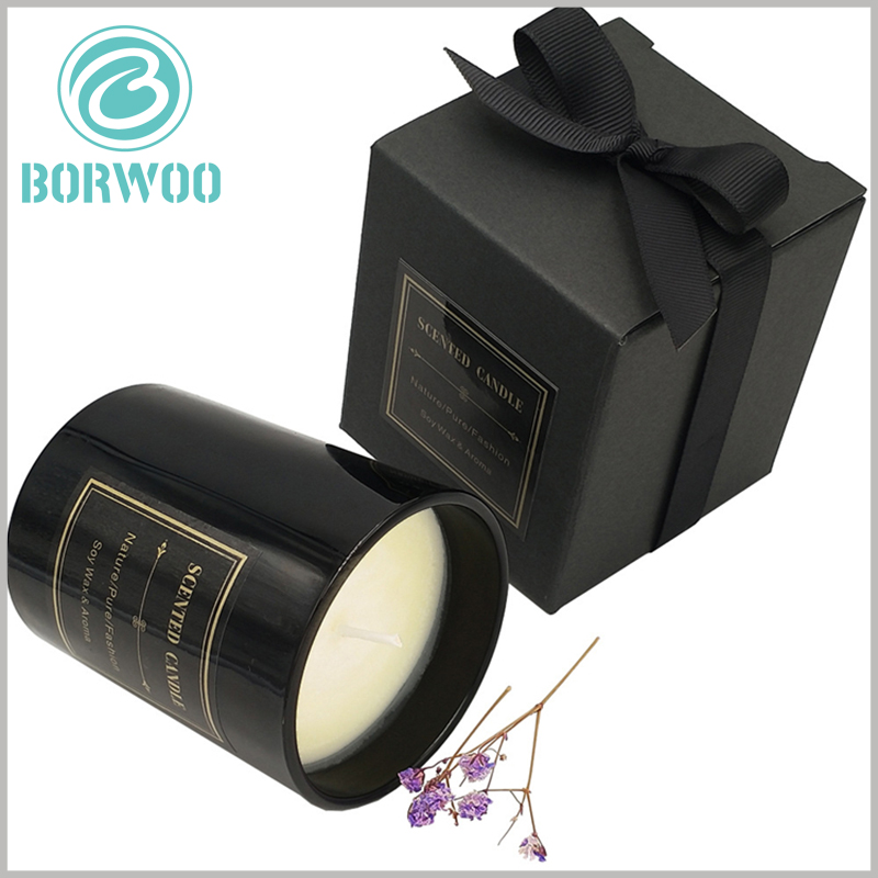 black cardboard candle gift boxes wholesale. The top of the black cardboard boxes uses silk as decorative gift bows to better reflect the value of candle gifts.
