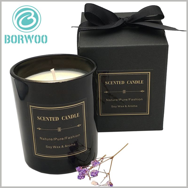 black cardboard candle gift boxes with bow. The square cardboard candle packaging has high hardness and can protect the candle products inside the packaging.