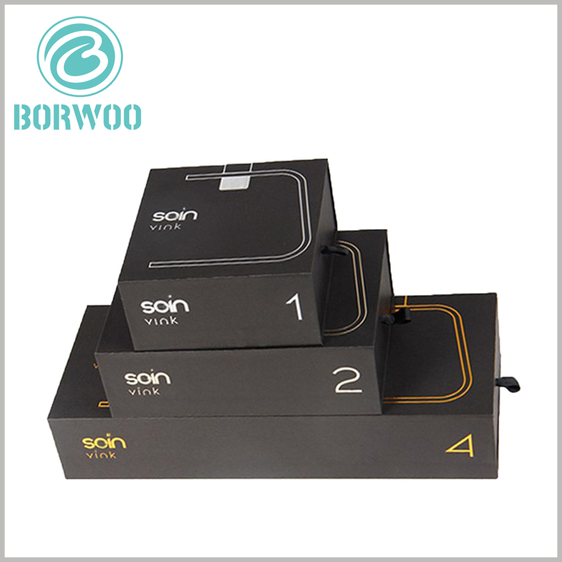 black cardboard candles boxes packaging wholesale. The size of the candle packaging box is determined according to the specifications and capacity of the product, and is fully customizable.