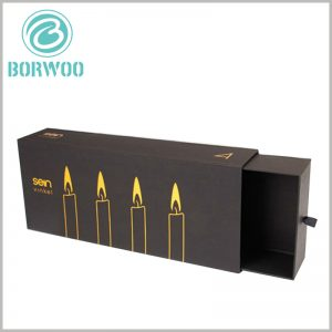 black cardboard drawer boxes for candles packaging. There is a silk pull ring on the side of the inner box of the paper jam drawer, which can easily pull the inner box to open the package.