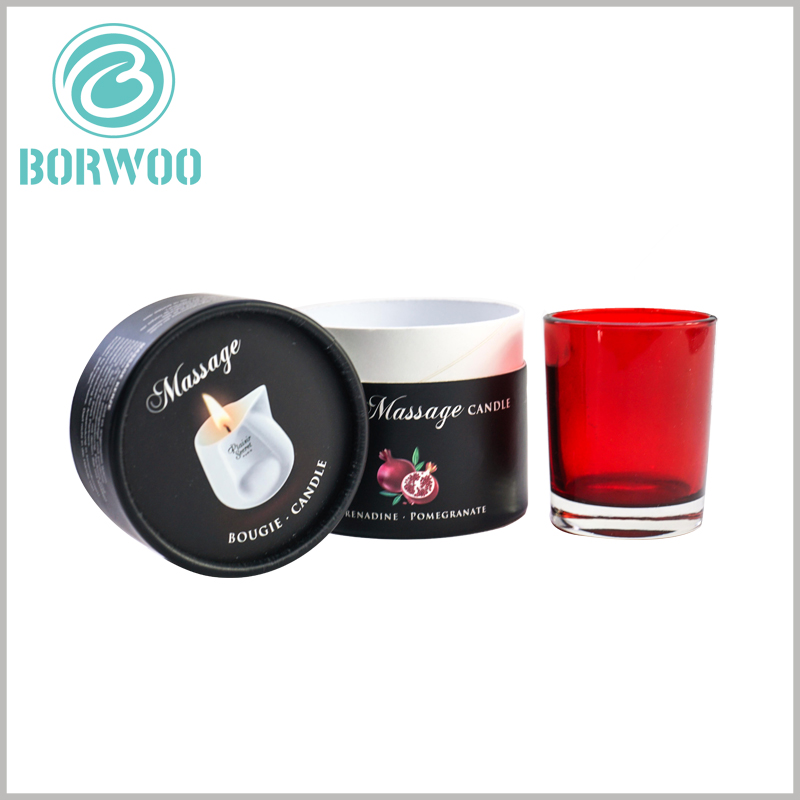 black cardboard round candle boxes packaging. The packaging structure of the candle jar is compact, which can only hold candles, and there is no excessive free space.