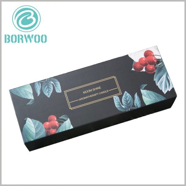black drawer candle boxes packaging with logo. The packaging pattern formed by CMYK printing is closely related to the fragrance and characteristics of candle products, which is more conducive to customers to understand the product.