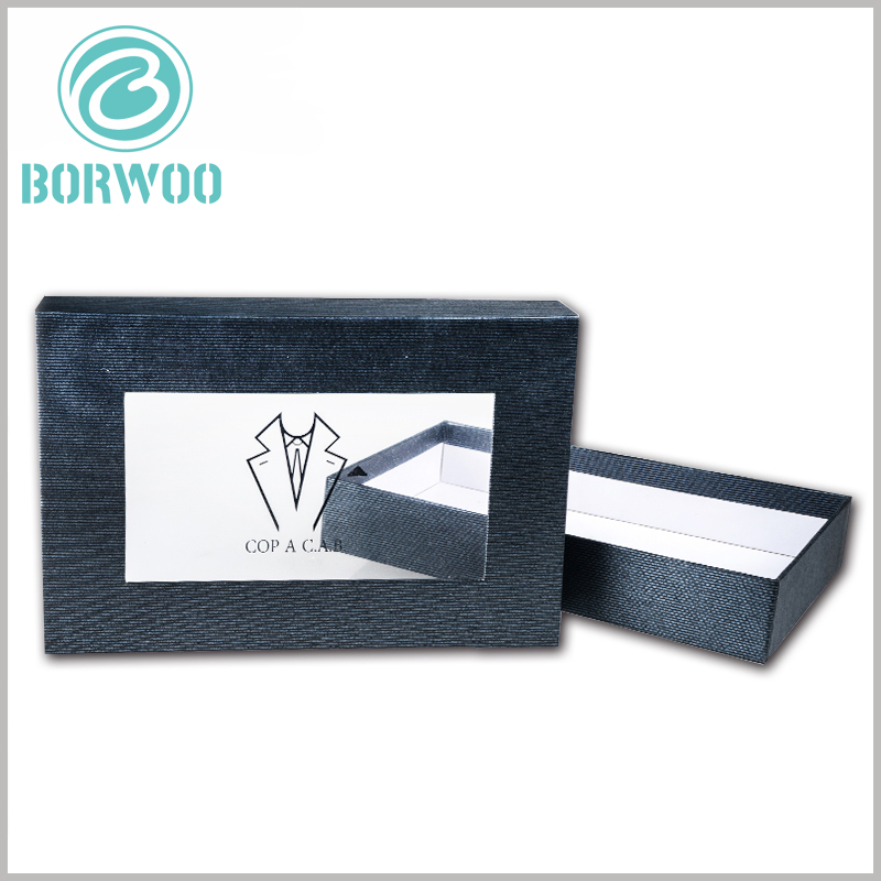 black dress shirt packing boxes wholesale.There are transparent PVC windows on the top cover of cardboard boxes to satisfy customers' desire to peep into the products inside the packaging.