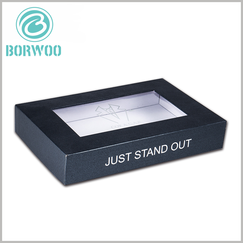 black dress shirt packing boxes with logo. Printing the brand name or publicity slogan on the side of the black box is an effective way of brand building