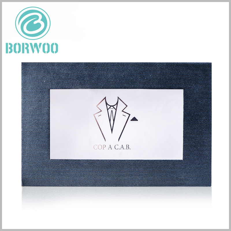 """black dress shirt packing boxes with window. """"Shirt style"""" is printed in the middle of the PVC window, which helps to promote the product and attract customers' attention."""