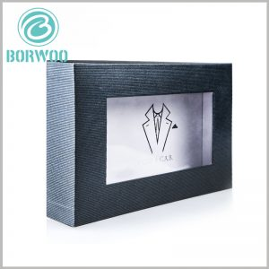 black dress shirt packing boxes with windows.The laminated paper of the black packing box is corrugated paper with fine stripes, which gives customers a visual streak.