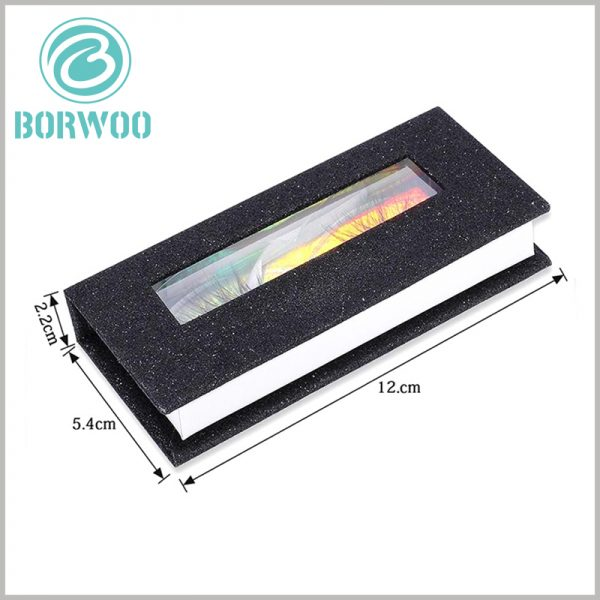 black glitter eyelash box packaging with window. The length of the rectangular cardboard eyelash packaging is 12cm, the width is 5.4cm, and the height is 2.2cm, which can be used as a reference