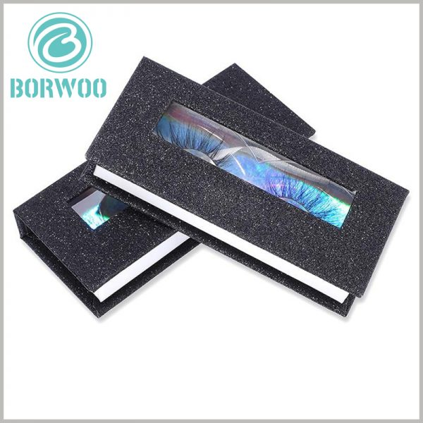 black glitter eyelash box packaging with windows. The PVC window on the top of the package increases the visibility of the window package and increases the chance of direct product display.