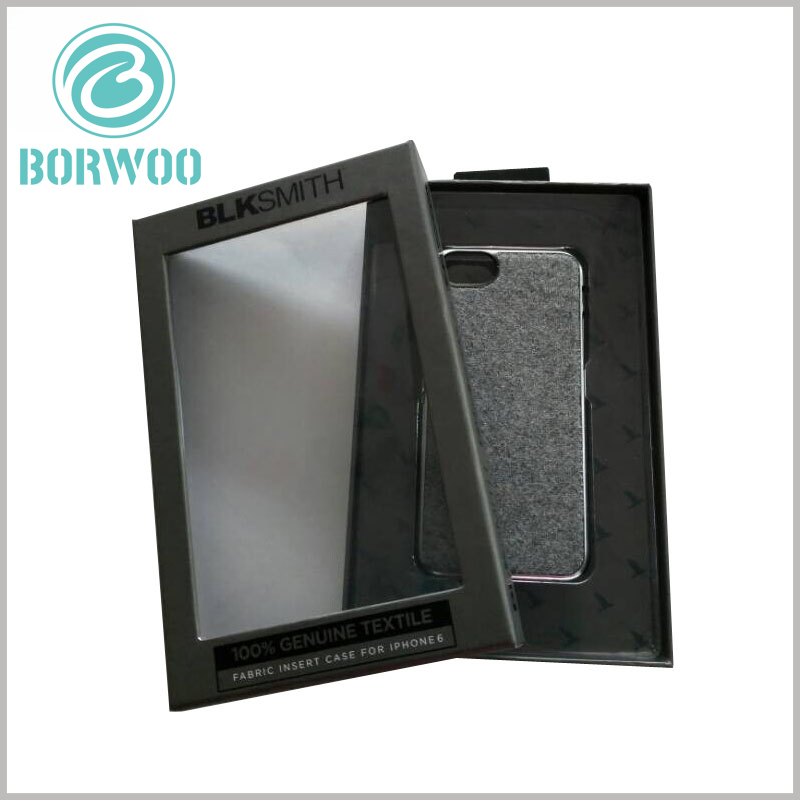 black mobile phone case packaging with window. Black cardboard boxes packaging, packaging design with a sense of black technology, adding more mystery to the packaging.