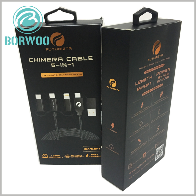 black packaging for 5 in 1 chimera cable. By customizing the main pattern of packaging and printing, you can quickly understand the characteristics and innovation of cable, and customers can quickly make a purchase decision