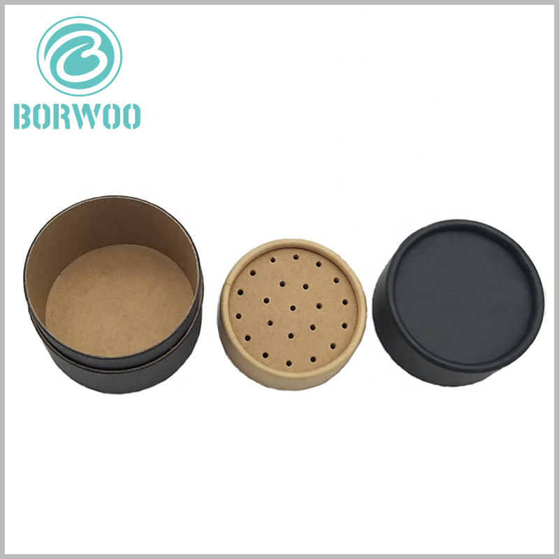 black paper tube for seasoning packaging. The kraft paper sieve inside the black tube package can be disassembled to facilitate putting in or taking out the product.