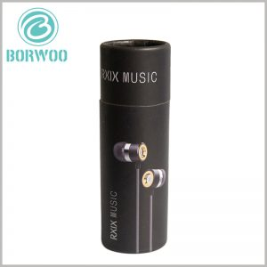 black paper tube packaging for earbuds headset. The style pictures of the earphones are directly printed on the packaging of the small-diameter cardboard tube, so that customers can understand the product directly after seeing the packaging.