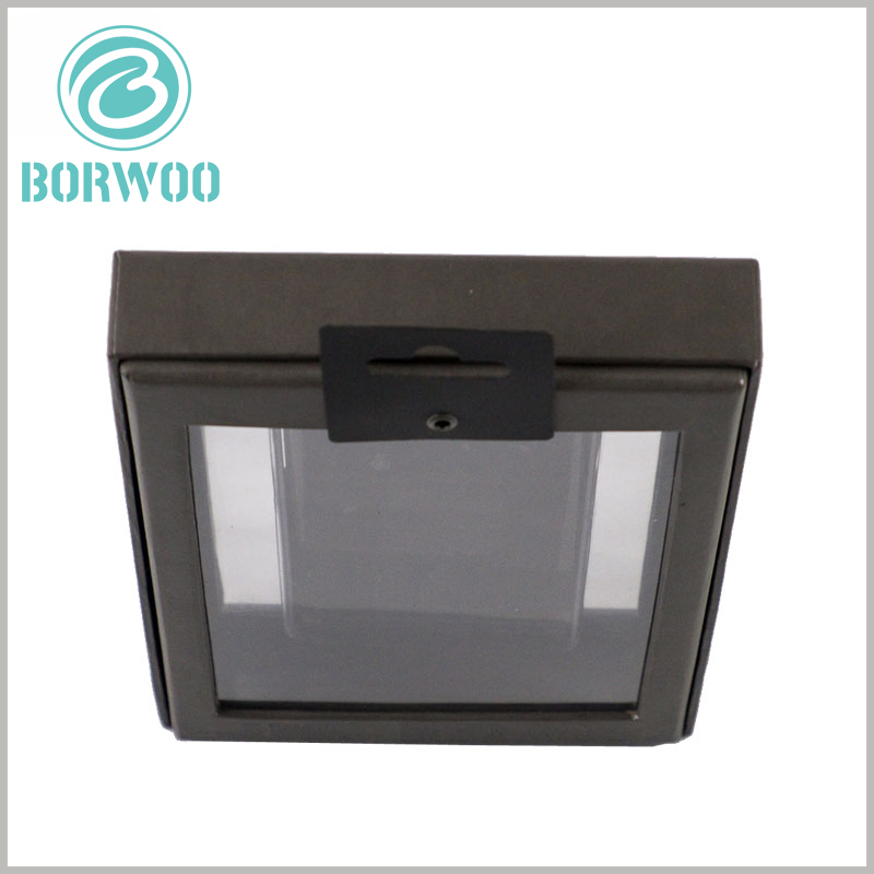 black product packaging with window. There are black plastic hooks (high rigidity) on the top of the custom black square box, which is convenient for hanging the products on the shelf for display.