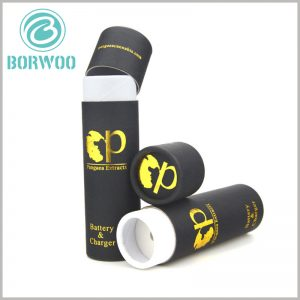 black round boxes for charger packaging. Custom tube packaging has unique information and patterns, which can help customers quickly understand the product.