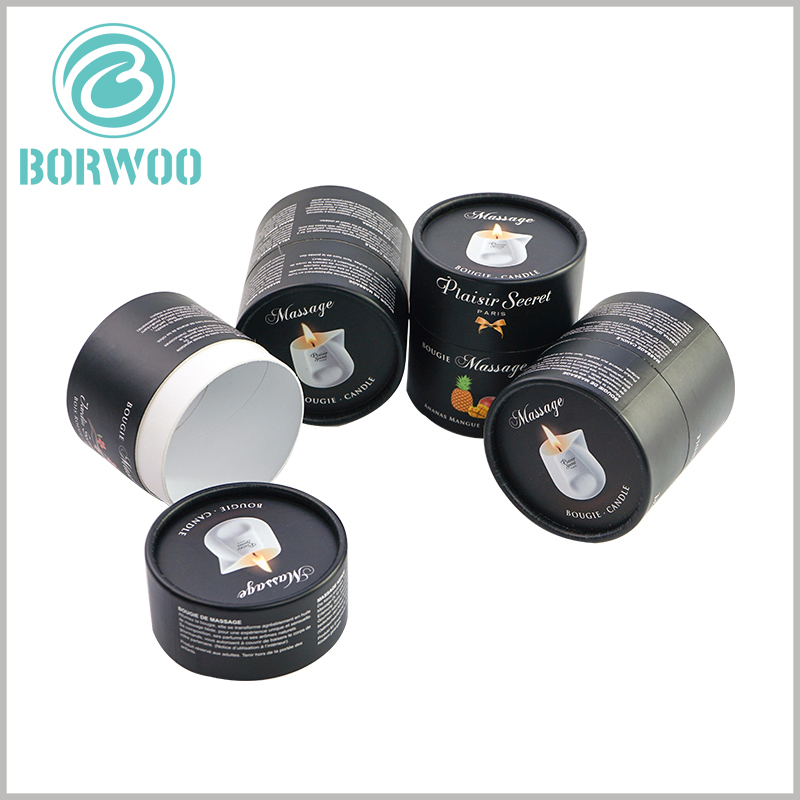 black round candle boxes packaging wholesale. Print detailed product text on the lid and body part of the black paper tube, which will serve as a product commentator.