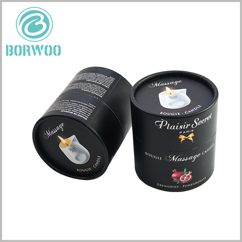 black round candle boxes packaging. By printing a specific candle glass style on the top of the black paper tube cover, customers will be able to quickly determine the characteristics of the product.