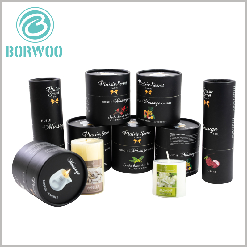 black round candle boxes wholesale. The height and diameter of the black paper tube packaging are determined according to the candle capacity, so that the product and the packaging are perfectly matched.