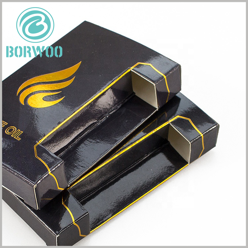 black small boxes for CBD oil packaging. The structure of the black packaging box is ingeniously designed according to the characteristics of the product, so that the packaging can be fully adapted to the product.