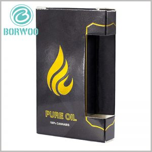black small boxes for cannabis oil packaging. The creative packaging design allows most of the small essential oil bottles to be exposed to the outside, and customers can directly touch the essential oil bottles to improve user experience.