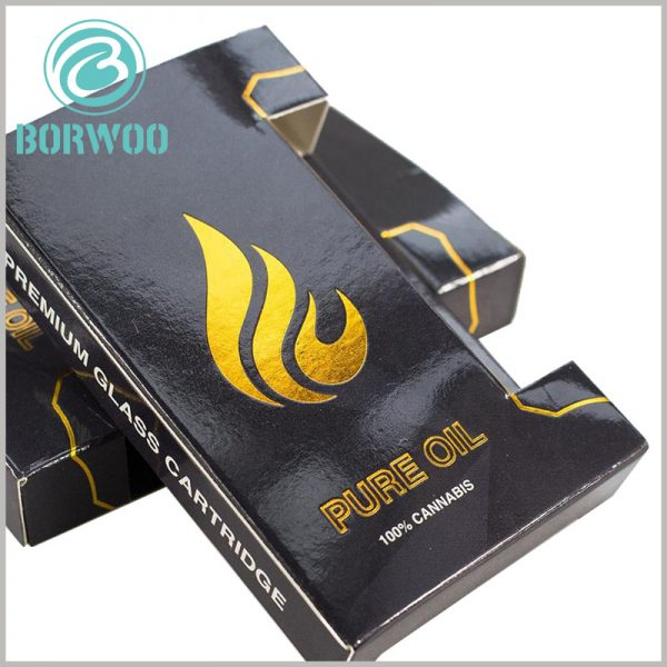 black small boxes for essential oil packaging.The front of the customized packaging is printed with Bronzing printed brand logo and product name, and the golden visual sense enhances the value of the product.